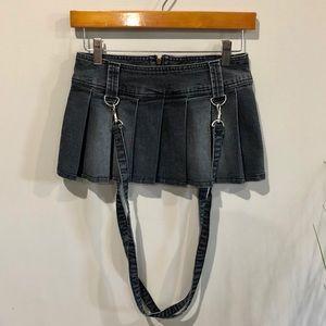 Suspender goth mini skirt XS 00 denim
